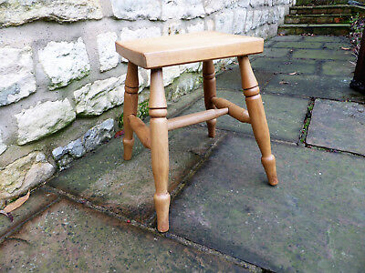 Vintage Oblong Top Ash, Oak, Elm Stool on Turned Legs