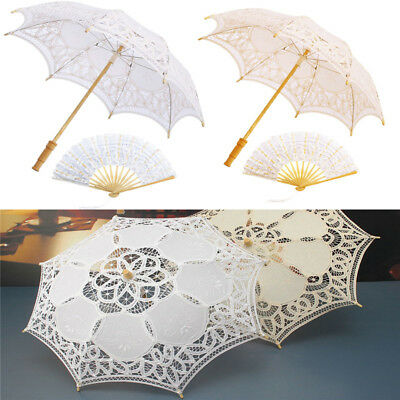 Wedding Party Photography Prop Umbrella Bridal Parasol Hand Fan Victorian Lace
