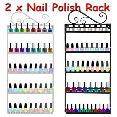 2 X 5 Tier Metal Wall Mounted Nail Polish Rack Organizer Display Holder Shelf UK