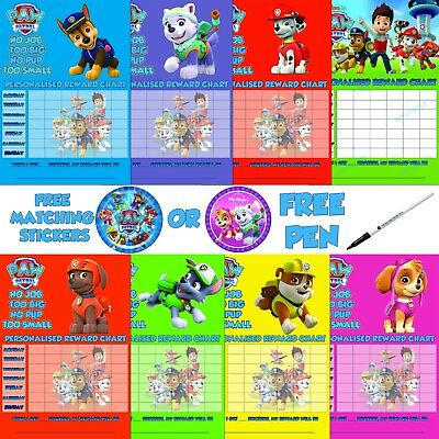A4 Paw Patrol potty toilet training Reward Chart free Stickers, pen MAGNETIC