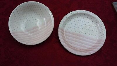 Cereal Bowl And Side Plate - Pink Shades And Spots By Churchill