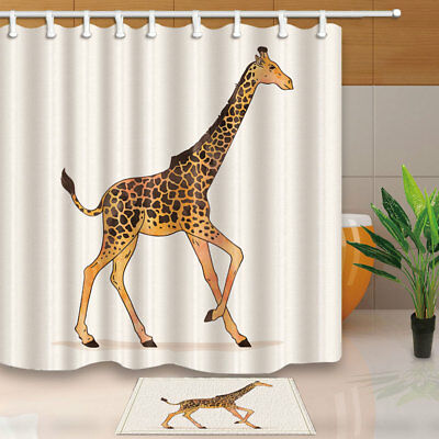 Animal Decor Cute Giraffe Bathroom Shower Curtain Set Fabric & 12 Hooks 71""
