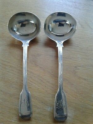 Pair Of Good Solid Sterling Silver, Fiddle And Thread   Pattern Sauce Ladles