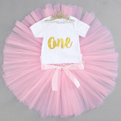 Baby Girls 1st First Birthday Outfit Tutu Skirt Cake Smash Set Blush Tiara 0-18M