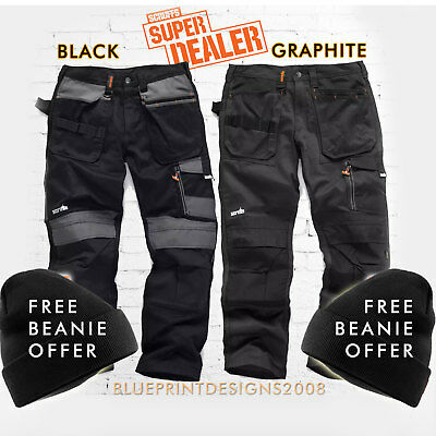SCRUFFS Work Trousers 3D TRADE Hard-Wearing CORDURA FABRIC FREE BEANIE OFFER!!
