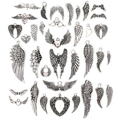 36Pcs Assorted Angel Wings Charms Pendants for DIY Jewelry Making Accessaries OC