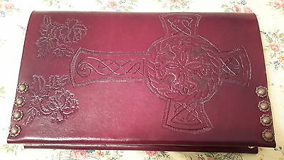 Bible/AA Leather Book Cover (Hand Tooled Leather). Fits Hard cover Big book.