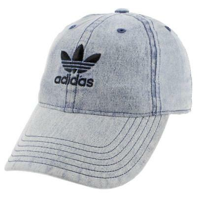 Boys Youth Adidas Originals Relaxed Strapback Cap Hat Trefoil Washed Blue Denim
