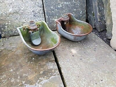 Pair of Vintage Drinking Bowls Cast Iron (excellent for wall planters)