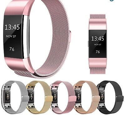 Magnetic Milanese Stainless Steel Watch Band Strap For Fitbit Charge 2