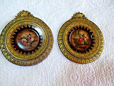 Pair of Antique Victorian Era Gilt Bronze Framed Porcelain Plates Marked