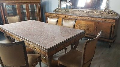 Beautiful Antique Dining Room Set Italian Neoclassical Columns Gold Walnut Briar