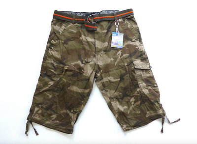 Plugg Big Mens Size 42 44 46 Mudsplat Camo Belted Messenger Cargo Shorts New