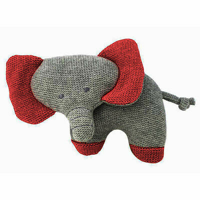 Alimrose Designs Baby Knit Toy Rattle Red and Grey Elephant