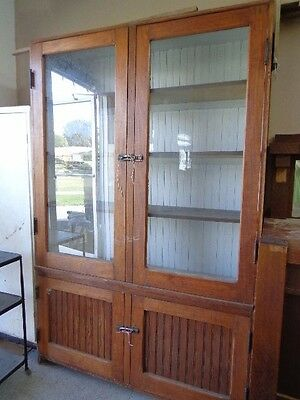Antique Jelly Cabinet FREE DELw/BIN China Cupboard bead board HUGE! Estate