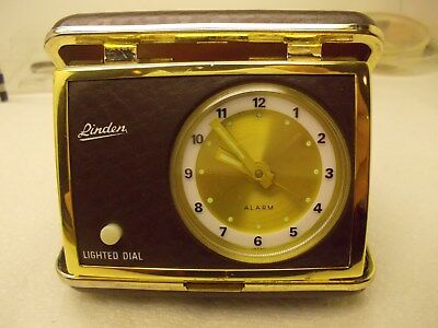 Vintage,MID-CENTURY Linden Lighted Dial Alarm Clock Brown Tone With Case,ALL WKS