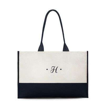 Premium Tote Bag Navy and White Classic Script First Initial Classic Canvas
