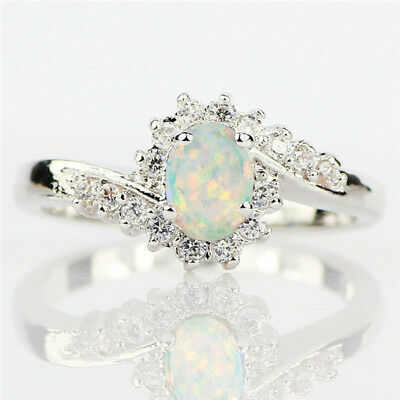 Trendy Women White Fire Opal 925 Silver Ring Wedding Engagement Size 6-10