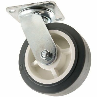 Heavy Duty TPR Rubber Caster Wheel with Swiveling Top Plate  - 6-Inch -  500 lb.