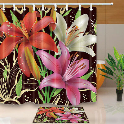 Flower Decor Colored Lilies Bathroom Shower Curtain Set Fabric 71 Inch & 12 Hook