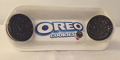 "Oreo Cookie Tray Banana-Split Bowl Ceramic Dish 9"" Long Milk and Cookies"