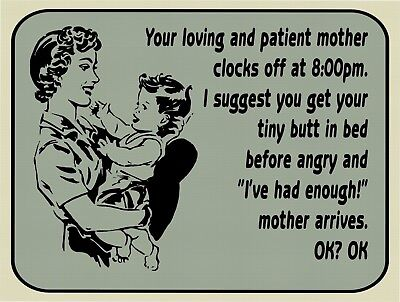 Angry Mom Loving Mom Small Child  Funny Retro Vintage Metal Tin Sign 9x12