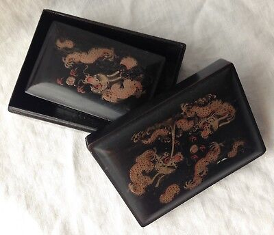 Antique FOOCHOW Ling Dai Mi 4 Nesting Boxes Lacquered Painted Dragons 5.25""