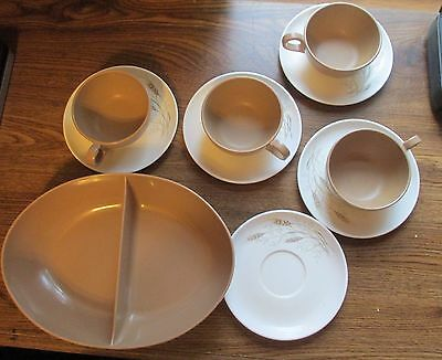 Mid Century Design Plastic Brown Divided Oval  Bowl + Cups and Saucers WHEAT
