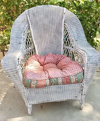 Vintage Antique White Wicker Chair Springs Seat Sturdy Farmhouse Charm