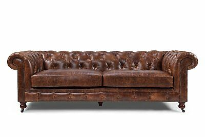 Tufted Modern Couch Mid Century Chesterfield Leather Sofa - French Antique Look