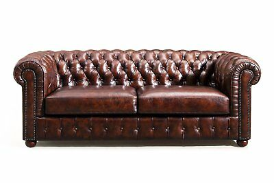 Sofa Tufted Modern Couch Mid Century Chesterfield Leather - French Antique Look