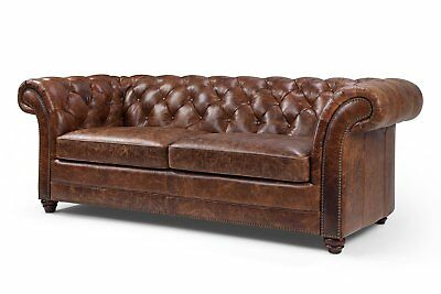 Leather Sofa Tufted Modern Couch Mid Century Chesterfield - French Antique Look