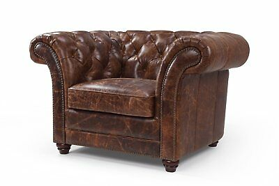 Modern Chesterfield Mid Century Lounge Leather Club Tufted Chair - Antique Look