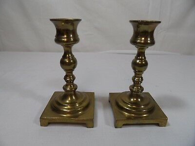 PAIR OF BRASS CANDLESTICK HOLDERS Footed Square Base Short Stem 5""