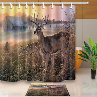 Wild Elk Eating Barren Grass Bathroom Shower Curtain Set Fabric & 12 Hooks 71In