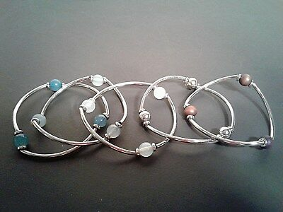 Lot of 5 PCS Beaded Silver-Tone Stretch Bracelets Hand-Crafted Never used!!!