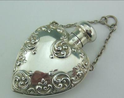 Antique English Sterling Solid Silver Perfume Bottle Flask
