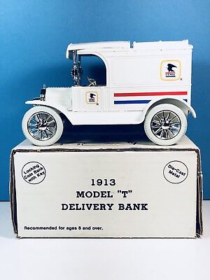 """Vintage Diecast Replica ERTL 1913 Ford Model """"T"""" U.S. Mail Delivery Bank"""