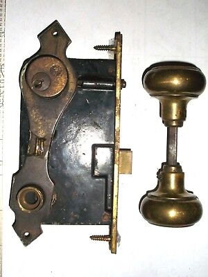 Antique Formal Exterior Mortise Lock With Key Cylinder Backplate and Door Knobs