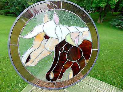 Round Horse Head Tiffany Style Stained Glass Suncatcher Panel Art Earth Tone 13""