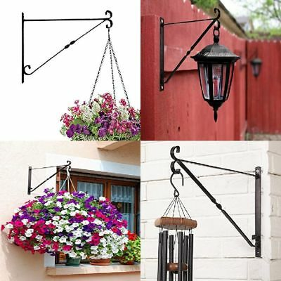 """Hanging Plants Bracket Hand Forged Iron Multi Purpose Rust Resistant 14"""" Long"""