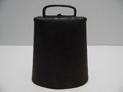 Large Antique Primitive Cow Bell Hand Forged Riveted Loud Clapper Old Farm Barn