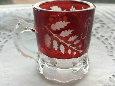 Glass Antique Ruby Red Flash EAPG Mini Cup Vintage Souvenir Etched Crystal