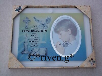 Confirmation First Photograph@Religious Baby Boy Picture Grandson Frame Gift Set
