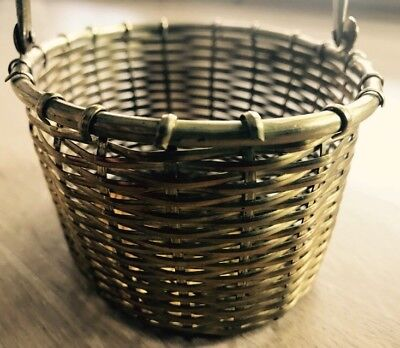 "Vintage Brass Wire Woven Basket 5"" Picnic Basket with Hinged Handle India EUC!"
