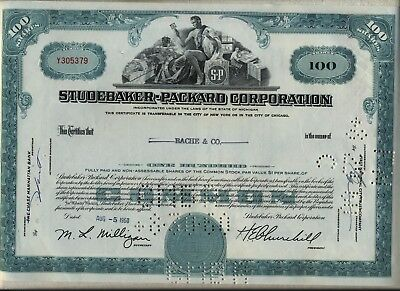 Studebaker-Packard Corporation Stock Certificate
