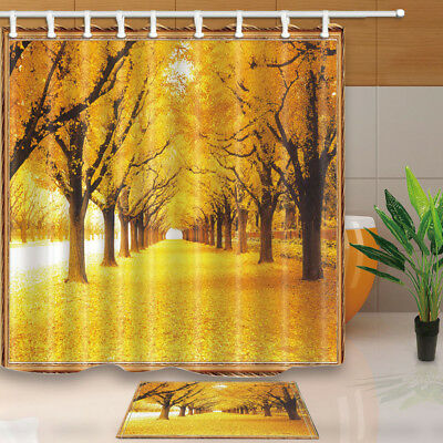 Beautiful Autumn Leaves Forest Bathroom Shower Curtain Set Fabric & Hooks 71 In