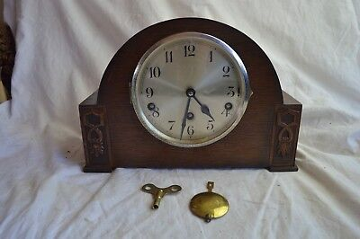 Vintage German Wood Mantle Clock Westminster Chime Foreign Mechanical 8 Day Key