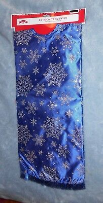 """Holiday Time 48"""" Blue Glitter Christmas Tree Skirt - Brand NEW w/Tag"""