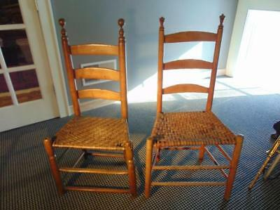 Pair of 18th century New England ladder-back side chairs, in good cond... Lot 69